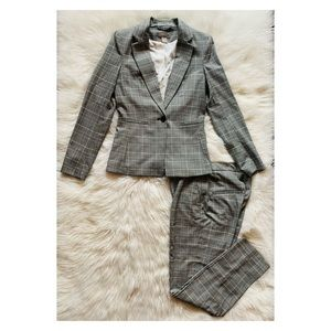 H&M Plaid Houndstooth One Button Blazer Pant Suit
